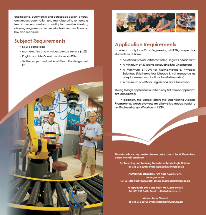 Mechanical engineering brochure